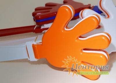 Ладошки-трещотки белые с оранжевым