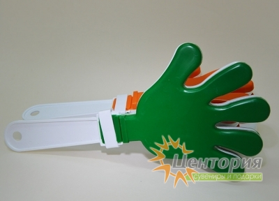 Ладошки-трещотки белые с зеленым