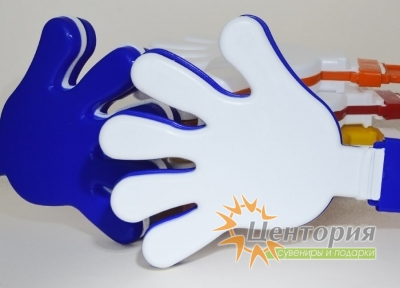 Ладошки-трещотки синие с белым