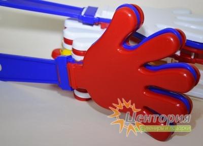 Ладошки-трещотки синие с красным