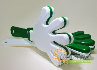 Ладошки-трещотки зеленые с белым