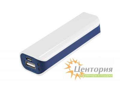 Powerbank Aster PB, 2000 mAh, белый/синий, подарочная упаковка с блистером