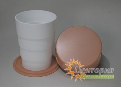 Складной стакан белый с коричневым