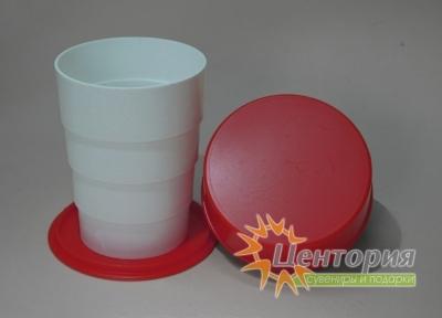 Складной стакан белый с красным