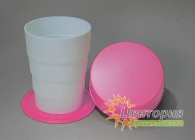 Складной стакан белый с розовым